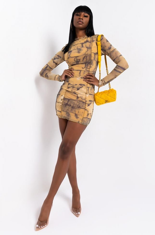 WRITING ON THE WALL MESH DRESS WITH THUMB HOLES