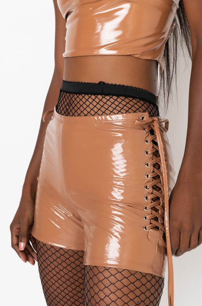 Detail View Wuz Poppin Vinyl Lace Up Shorts in Light Brown