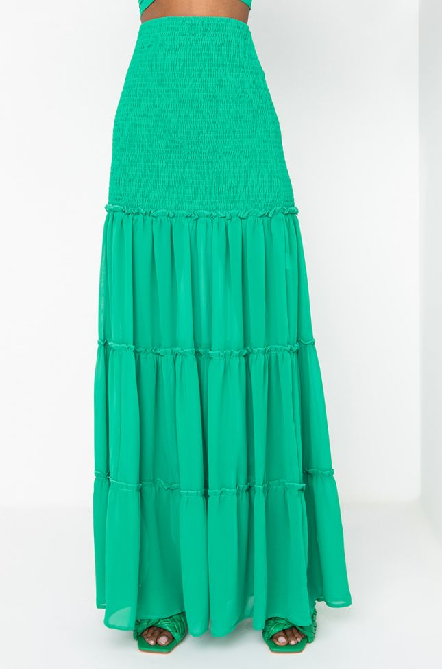 Front View Yacht-zee Maxi Skirt in Green