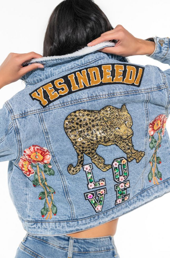 YES INDEED PATCH DENIM SHERPA JACKET