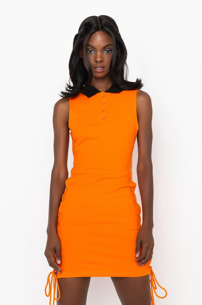 Front View Yes Sis Mini Dress With Lace Up Sides in Orange