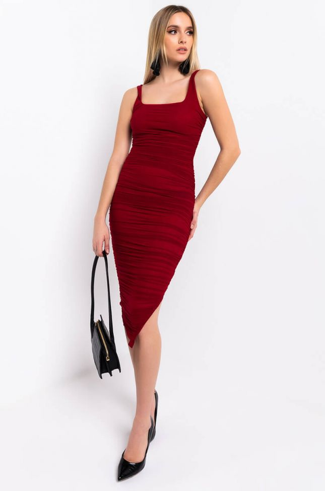 Front View Yes Sweetheart Midi Dress in Red