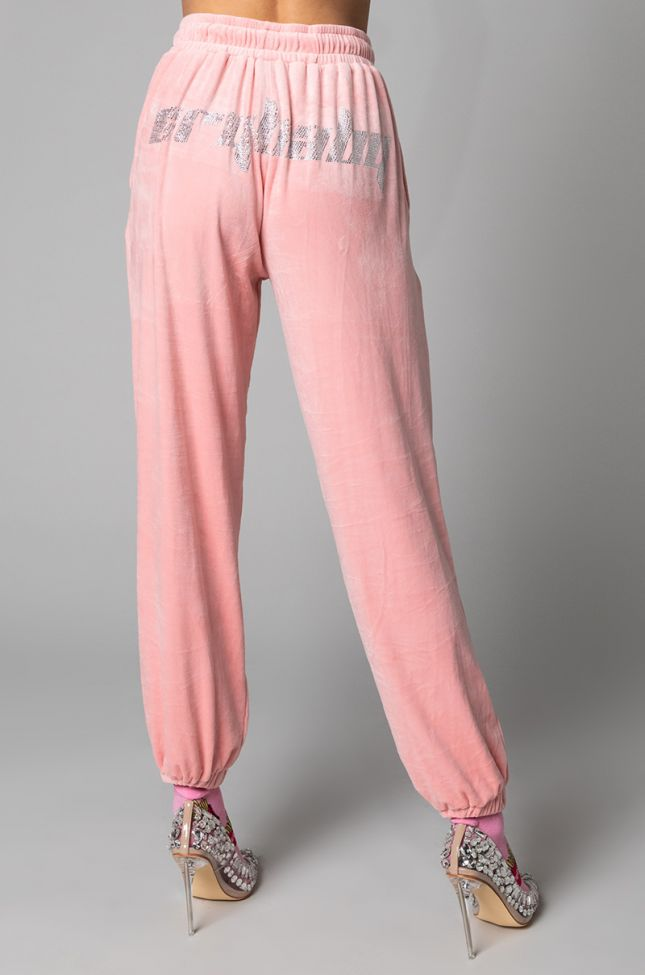 Back View You Betta Velvet Sweatpant in Pink
