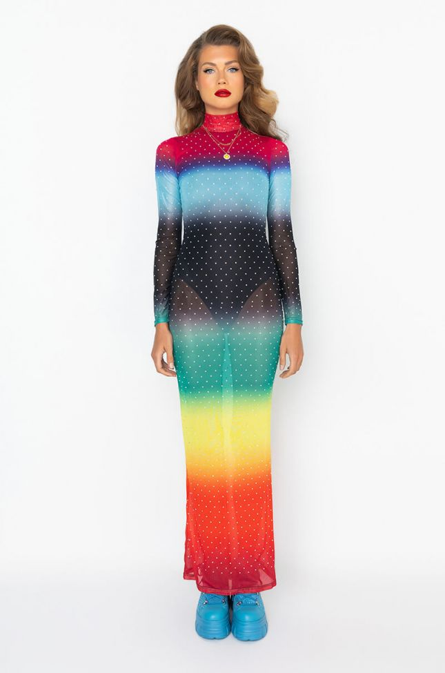 Front View You Can Text Me Maxi Rhinestone Mesh Dress in Red Multi