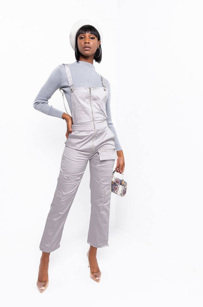 Front View You Deserve It Sleeveless Cargo Pocket Jumpsuit in Grey