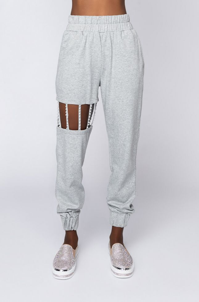 Front View You Dont Know Me Pearl Detail Jogger in Heather Grey