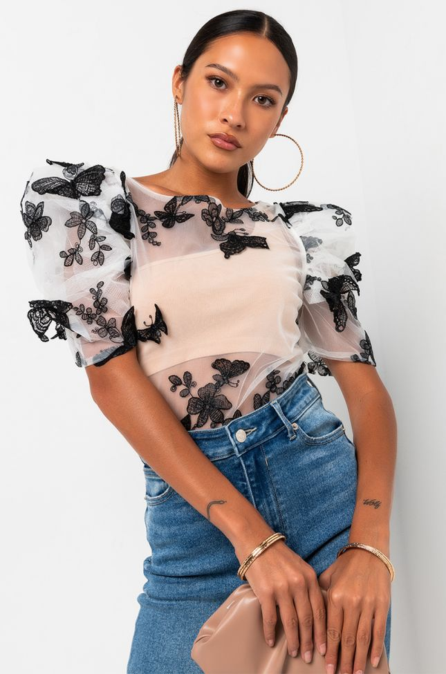 Front View You Give Me Butterflies Puff Sleeve Mesh Blouse in White