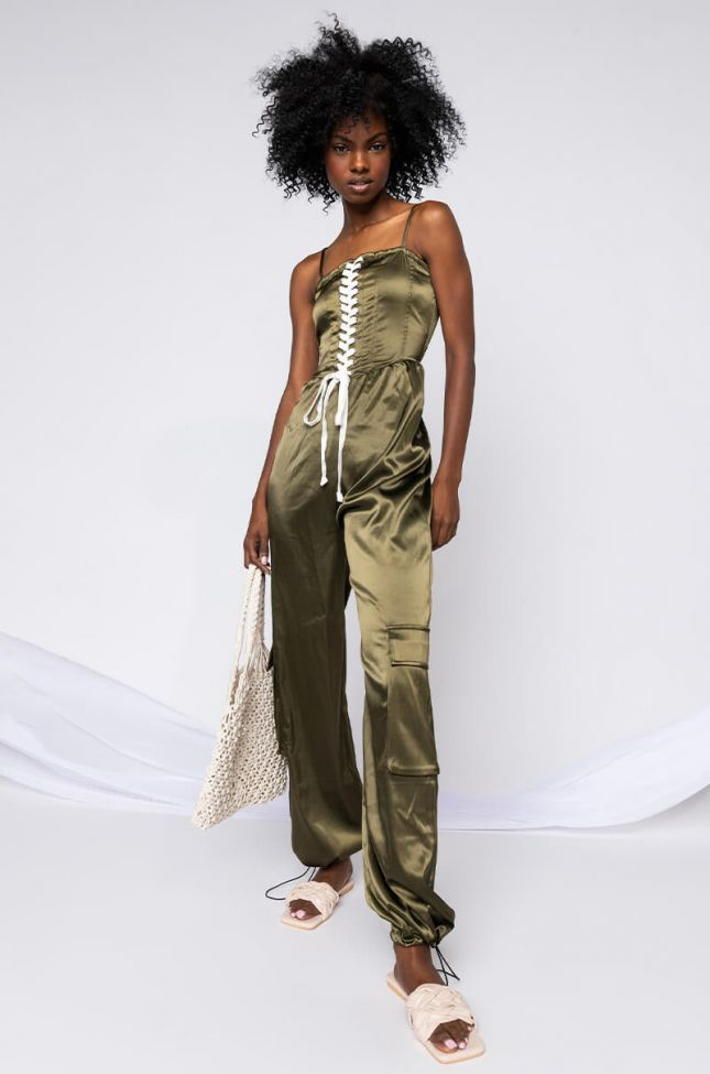 Front View You Know What To Do Lace Up Detail Jumpsuit in Olive