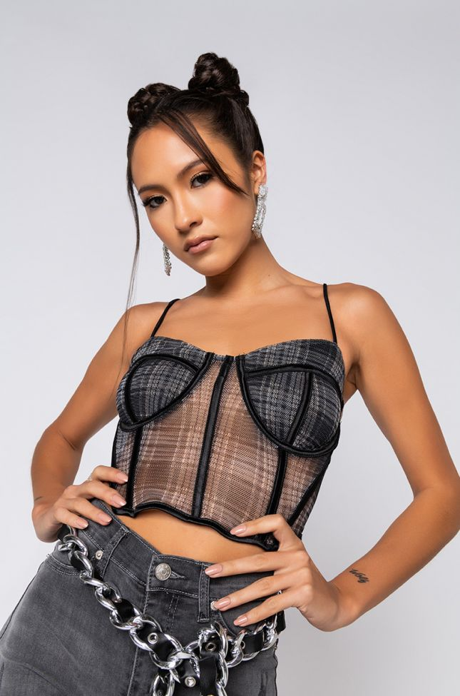 Front View You Make Me Better Corset Top in Black Multi