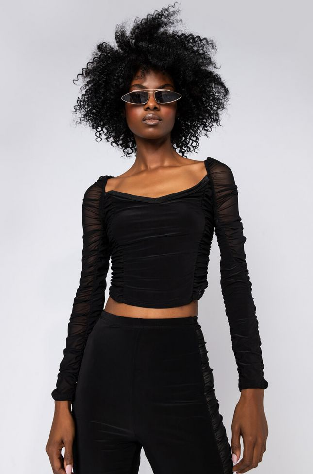 Front View Youll Mesh Me When Im Gone Long Sleeve Mesh Cropped Blouse in Black