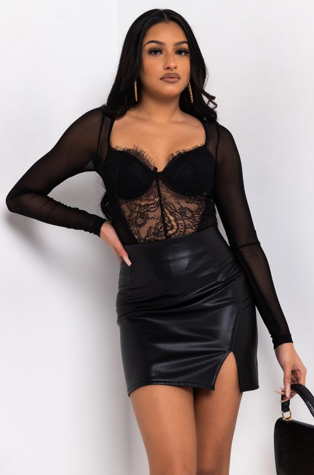 Front View Young And Wild Lace Bodysuit in Black