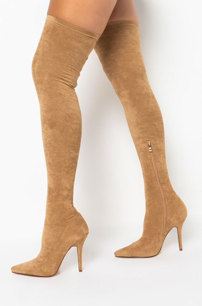 Back View AZALEA WANG Your Friends Are Taking You Out Thigh High Sexy Heel Suede Boot in Tan