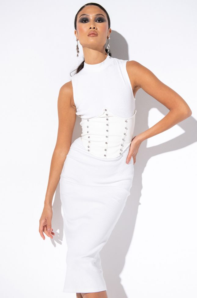 Front View Your Main Thing Mock Neck Midi Dress With Attached Corset in White