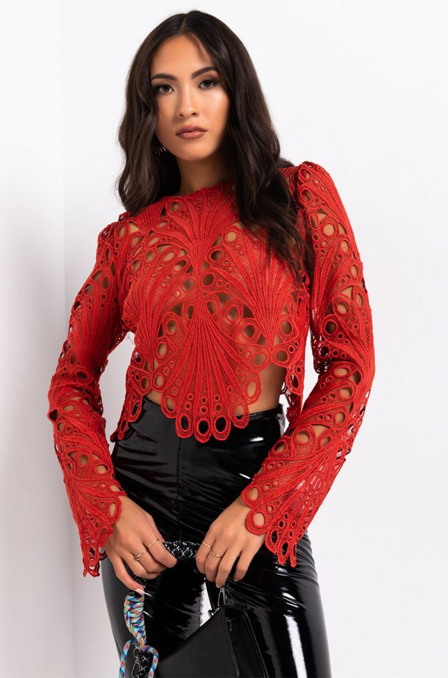 Front View Your Secret Is Safe Long Sleeve Eyelet Top in Rust