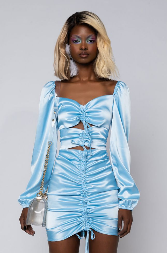 Front View Your Sprinkle Of Joy Satin Ruched Mini Dress With Cut Out in Light Blue