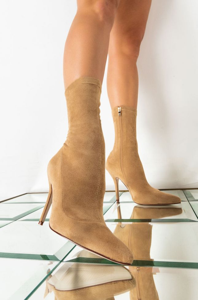 Front View Youre In The Mood For A Dance High Heel Pointed Toe Bootie in Taupe
