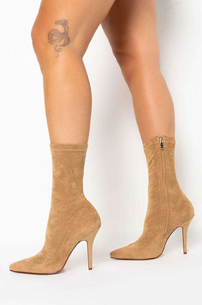 Side View Youre In The Mood For A Dance High Heel Pointed Toe Bootie in Taupe