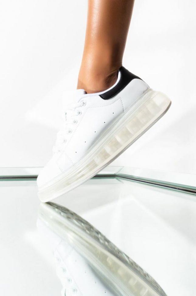 Front View Yummy Clear Sole Sneaker in White Black