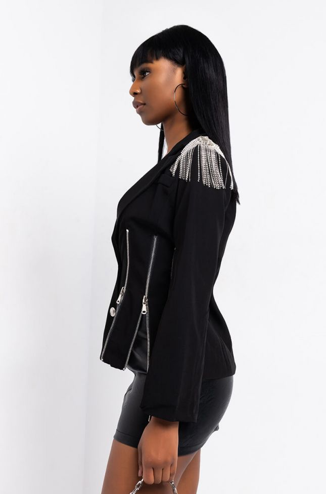 Back View Zip It Fitted Blazer in Black