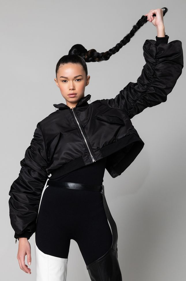 Front View Zip It Good Stacked Arm Bomber in Black