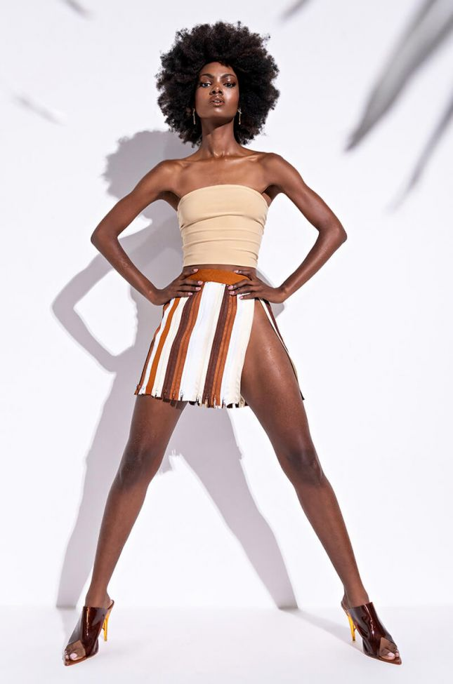 Zip Me Up Mini Skirt With Zipper Trim in Brown Multi