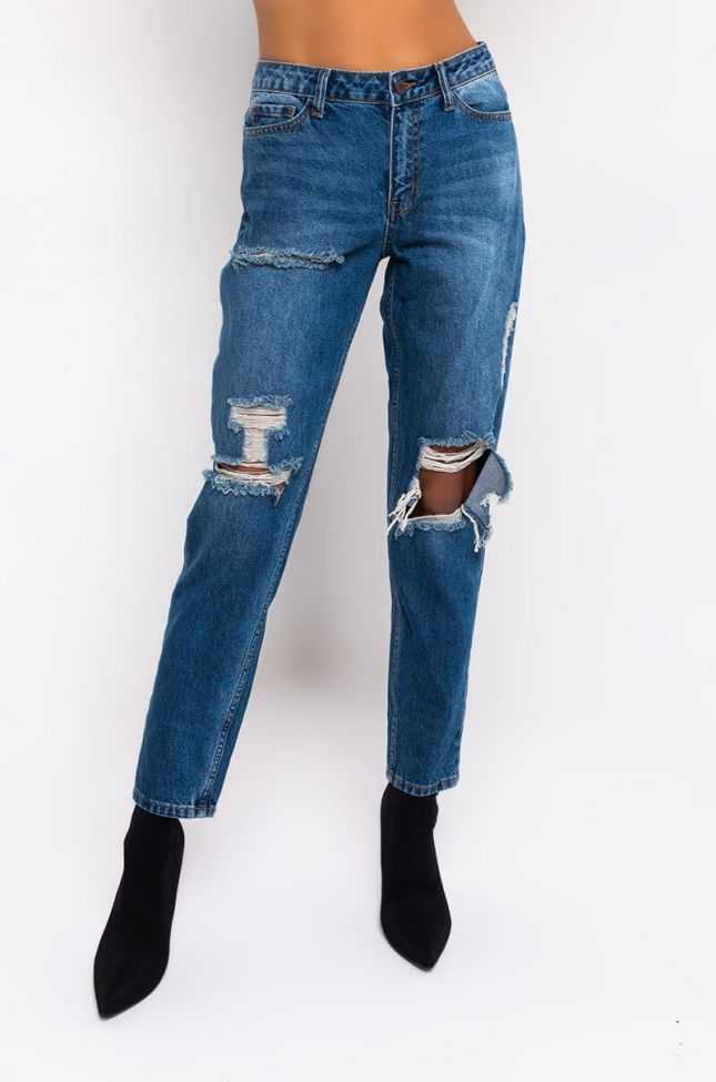 Front View Zoe High Waisted Relaxed Jeans in Medium Blue Denim