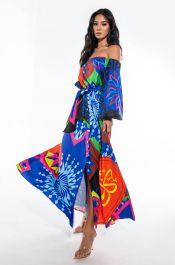 MEET ME IN MONACO OFF THE SHOULDER MAXI DRESS