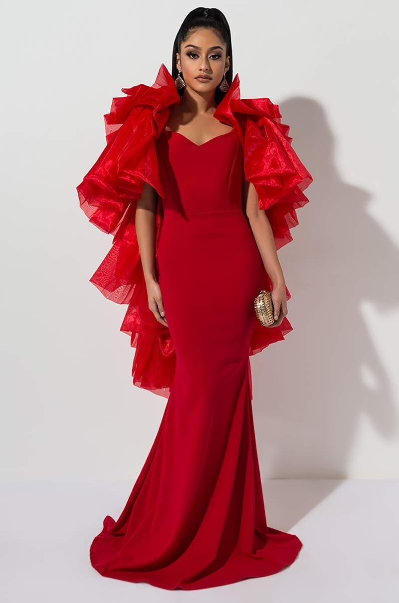 3bf6c7e6b498 Sexy Silk Deep V Wrap Midi Dress with Ruffle Trim in Rust, Champagne