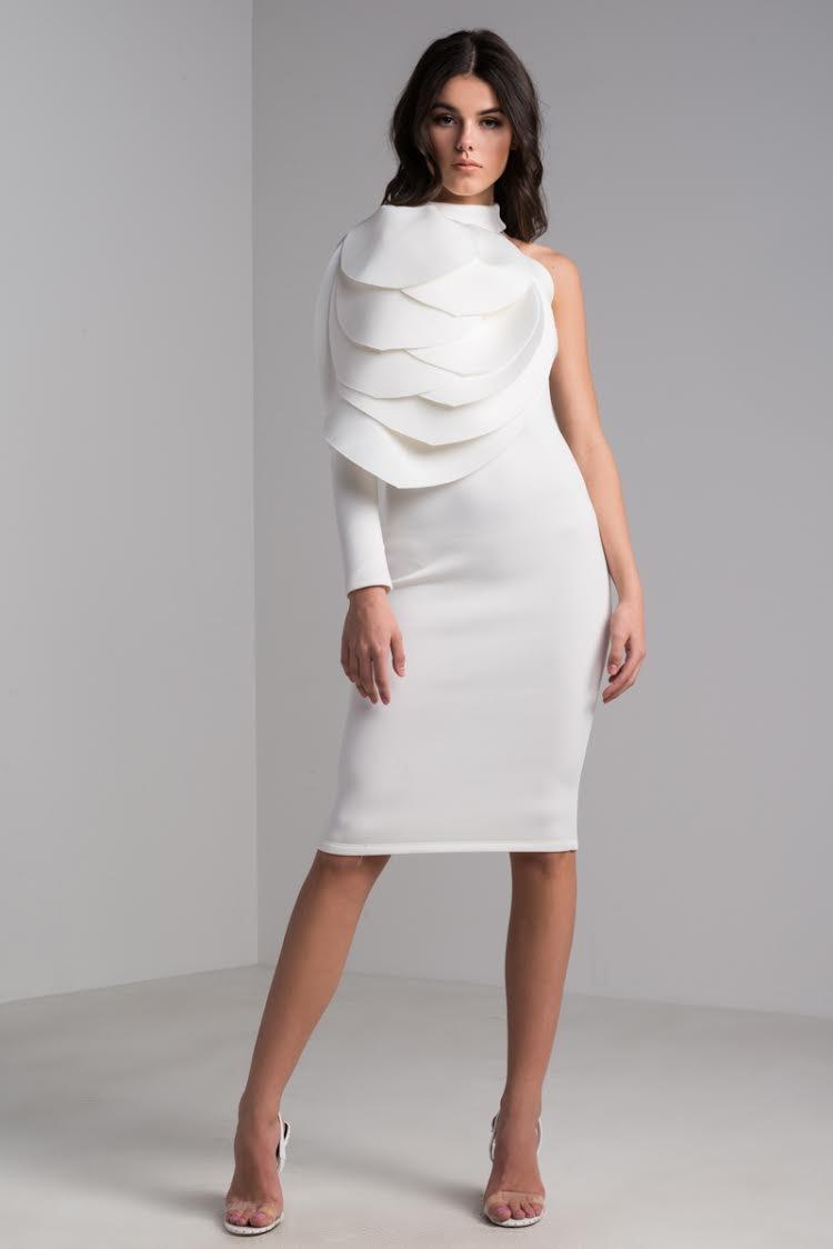 AKIRA Halter Neck Side Detail Scuba Bodycon Knee Length One Sleeve Dress in Ivory