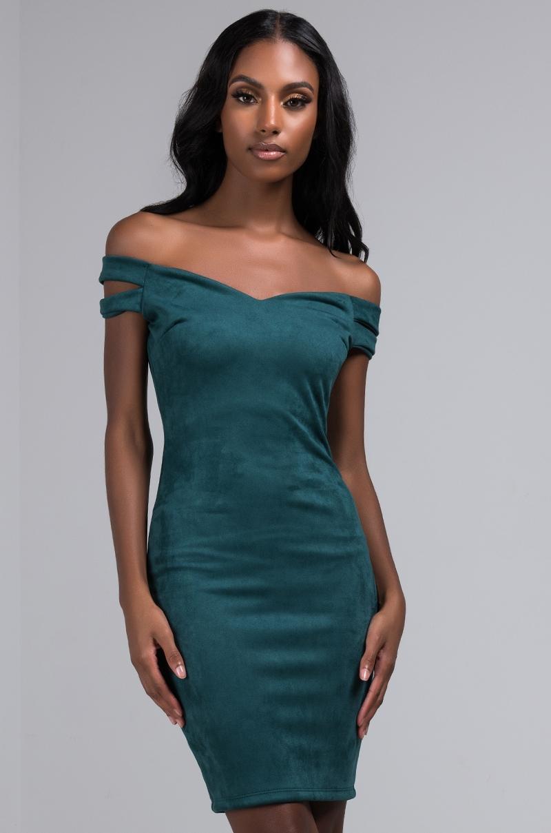 AKIRA Label Off Shoulder Bodycon Mini Dress in Hunter Green