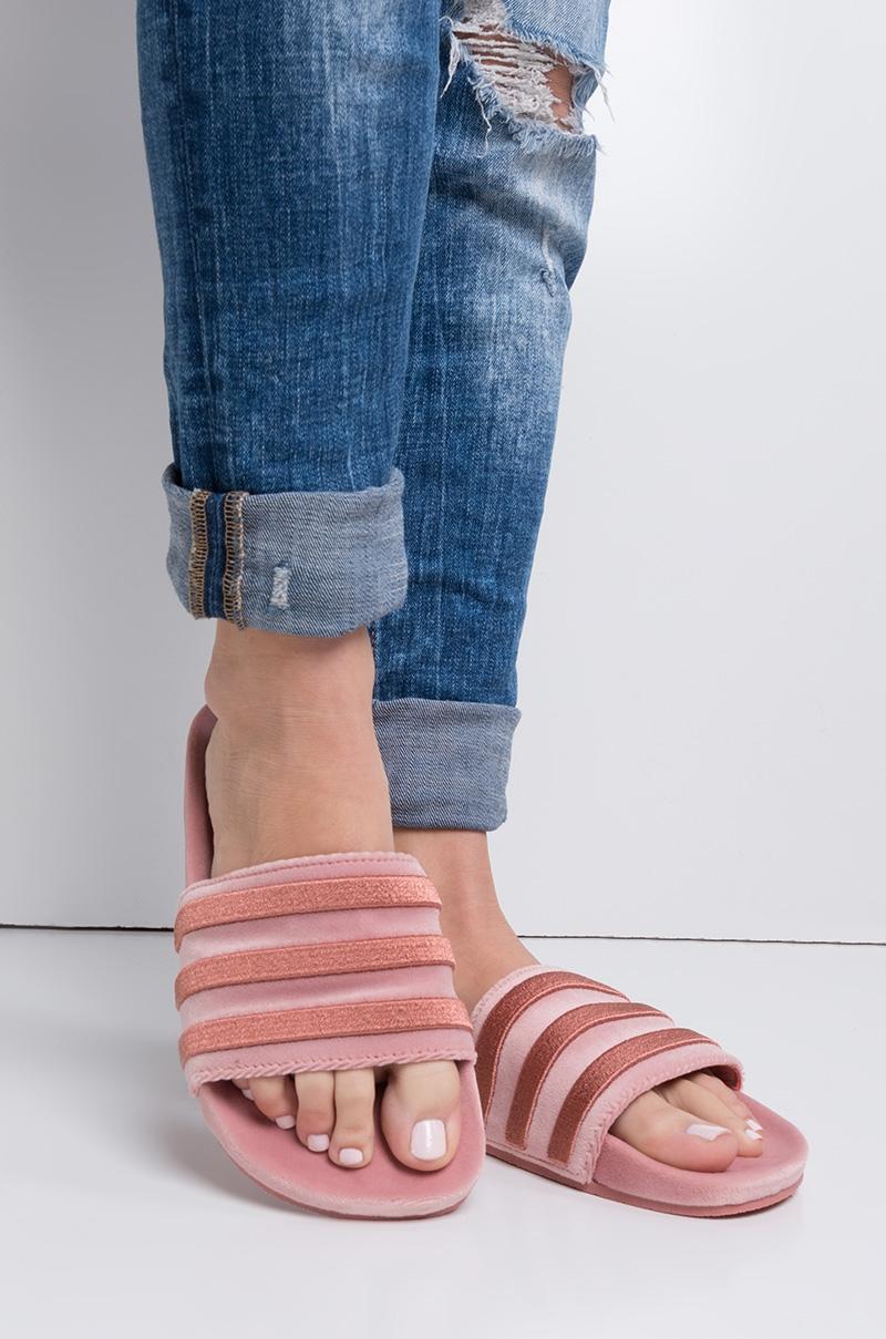 Adidas Originals Adilette Women S Velvet Slides In Pink