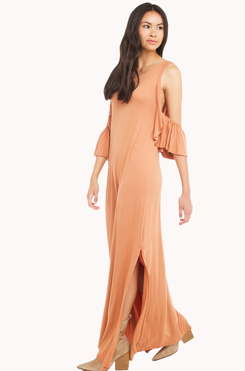 Off shoulder maxi dress in Light Rust.