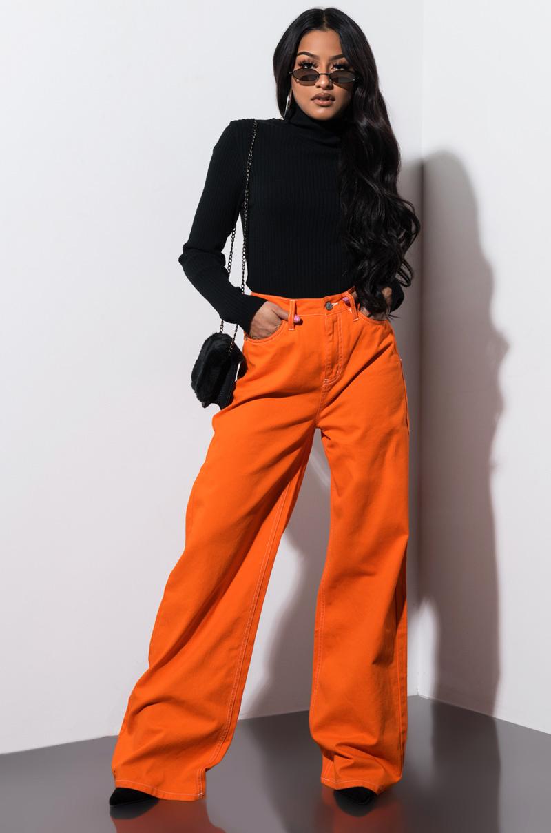 5d9415f2c88 AKIRA High Rise Tie Belt Flared Lightweight Pants in Oatmeal