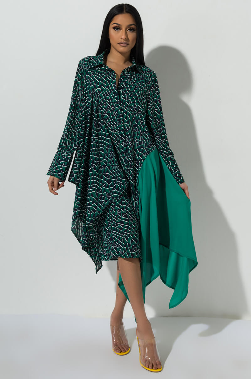 3881b334cc6 AKIRA Label Tropical Print Halter Top Pleated Maxi Dress in Green ...