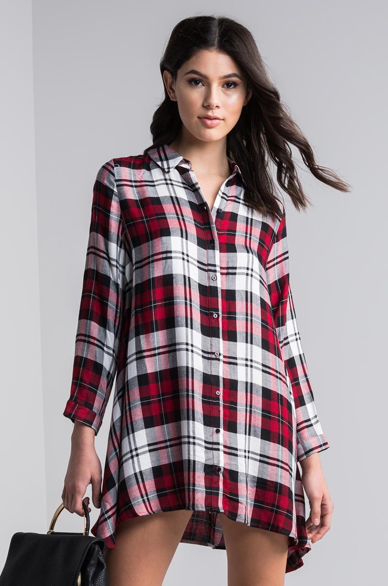 Akira long sleeve oversized button down soft plaid shirt for Oversized red plaid shirt