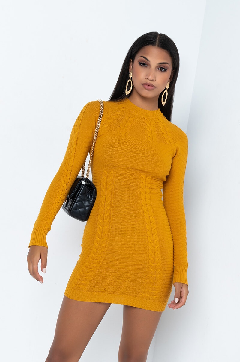 EASY TO SAY LONG SLEEVE KNITTED MINI DRESS