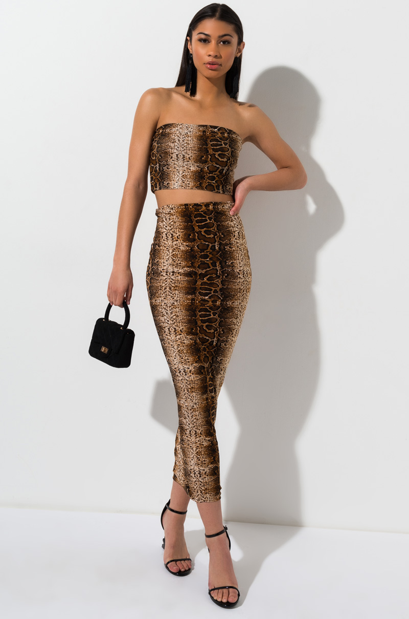 cb80a68f0b AKIRA Electric Python Snake Maxi Skirt.  30. AKIRA Flex Leopard Mini Skirt