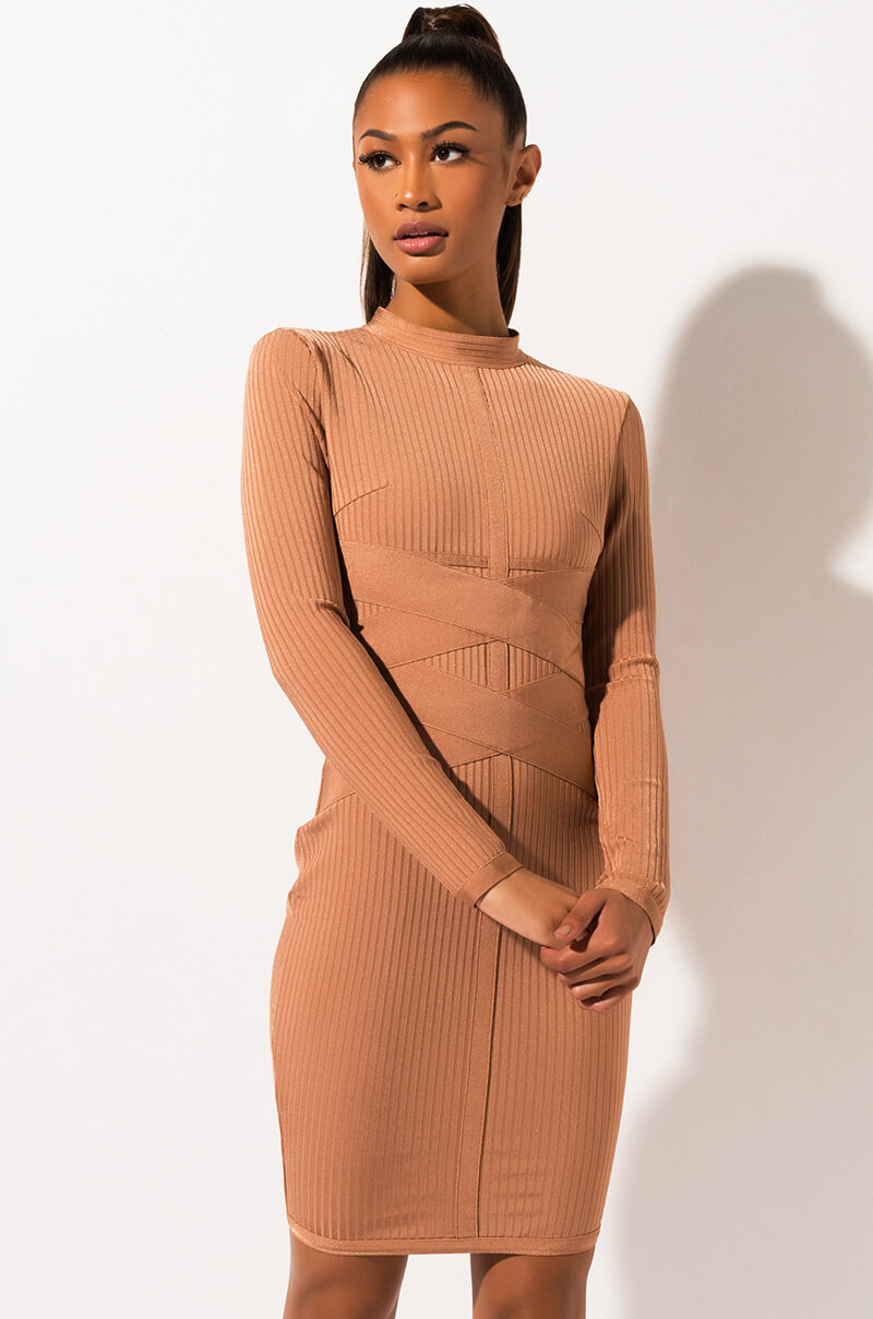 AKIRA Label Mock Neck Bandage Knit Bodycon Midi Dress in Light Brown