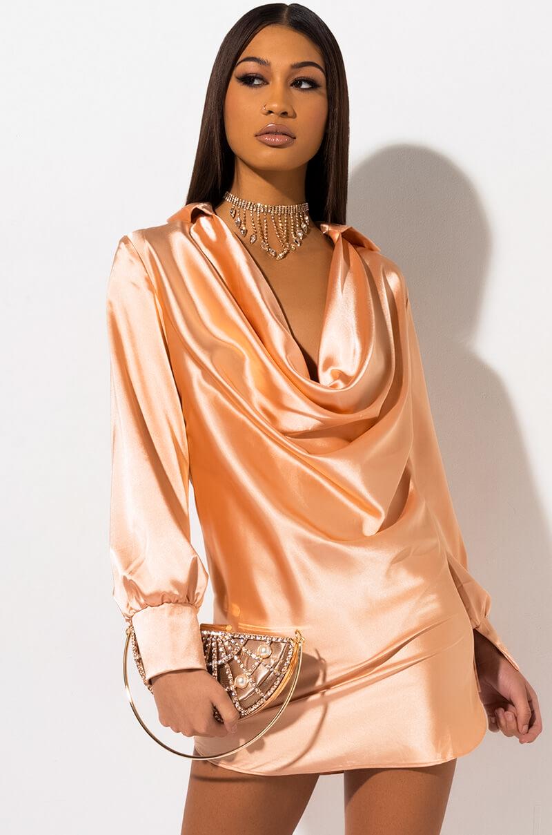 AKIRA Label Long Sleeve Silk-Inspired Cowl Neck Shirt Dress in Orange