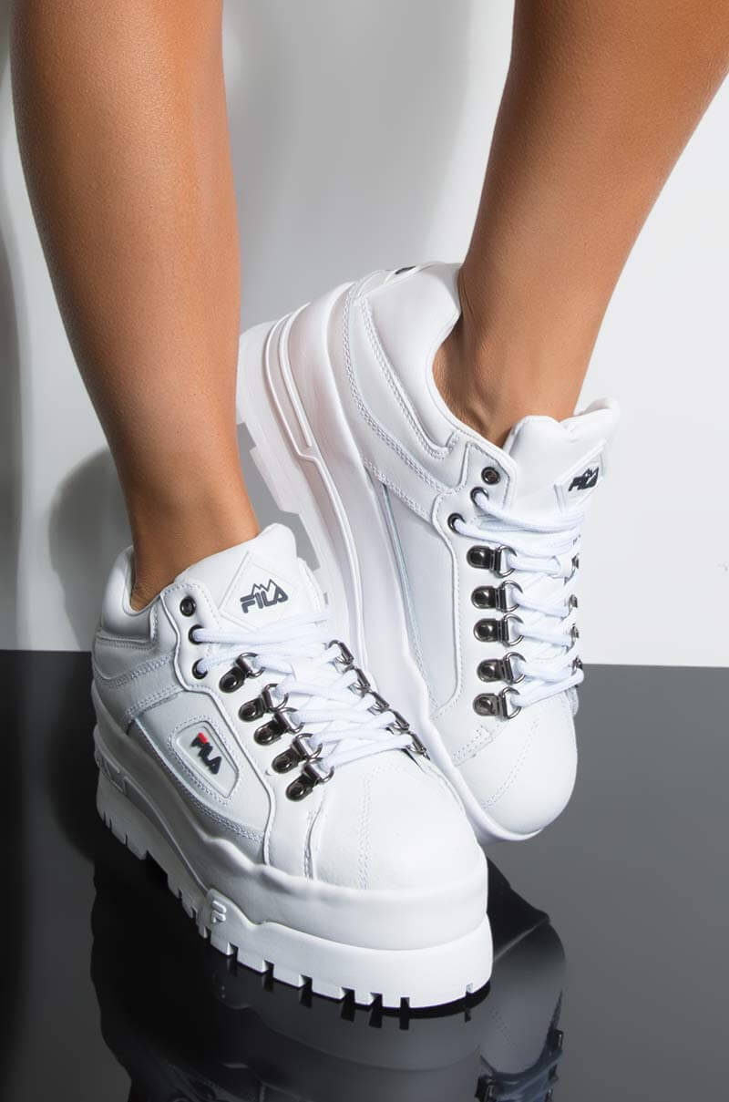 c94d030bb89c7 FILA Faux Leather Material Flat Ridged Rubber Chunky Sole Shoelace ...