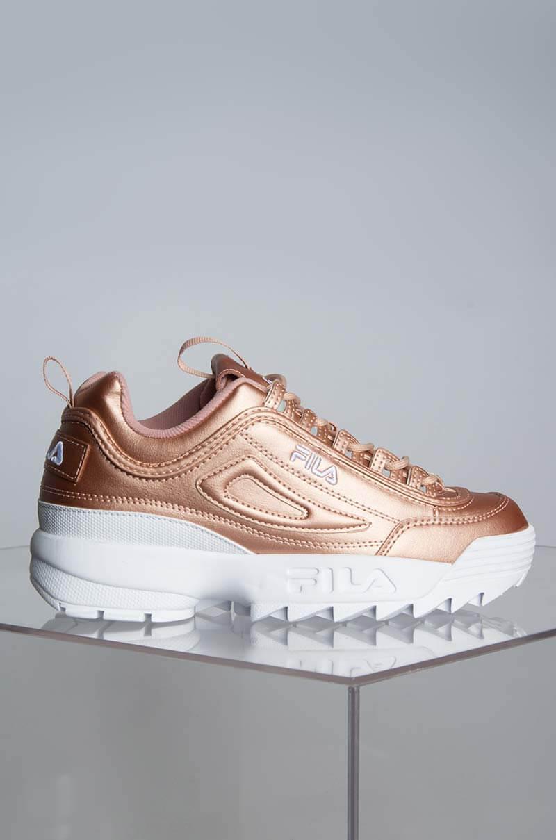 21cb6342b FILA Womens Disruptor Sneaker, In Rose Gold Rose Gold White