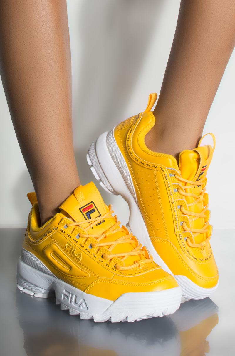 63ff2cd254f2fa FILA Disruptor II Premium Repeat Sneaker, In Yellow White