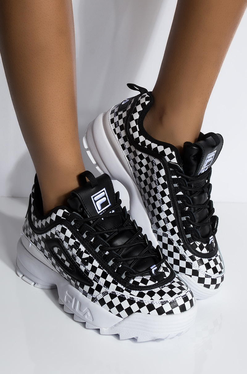 Fila Checkerboard Faux Leather Chunky Sole Lace Up Sneaker