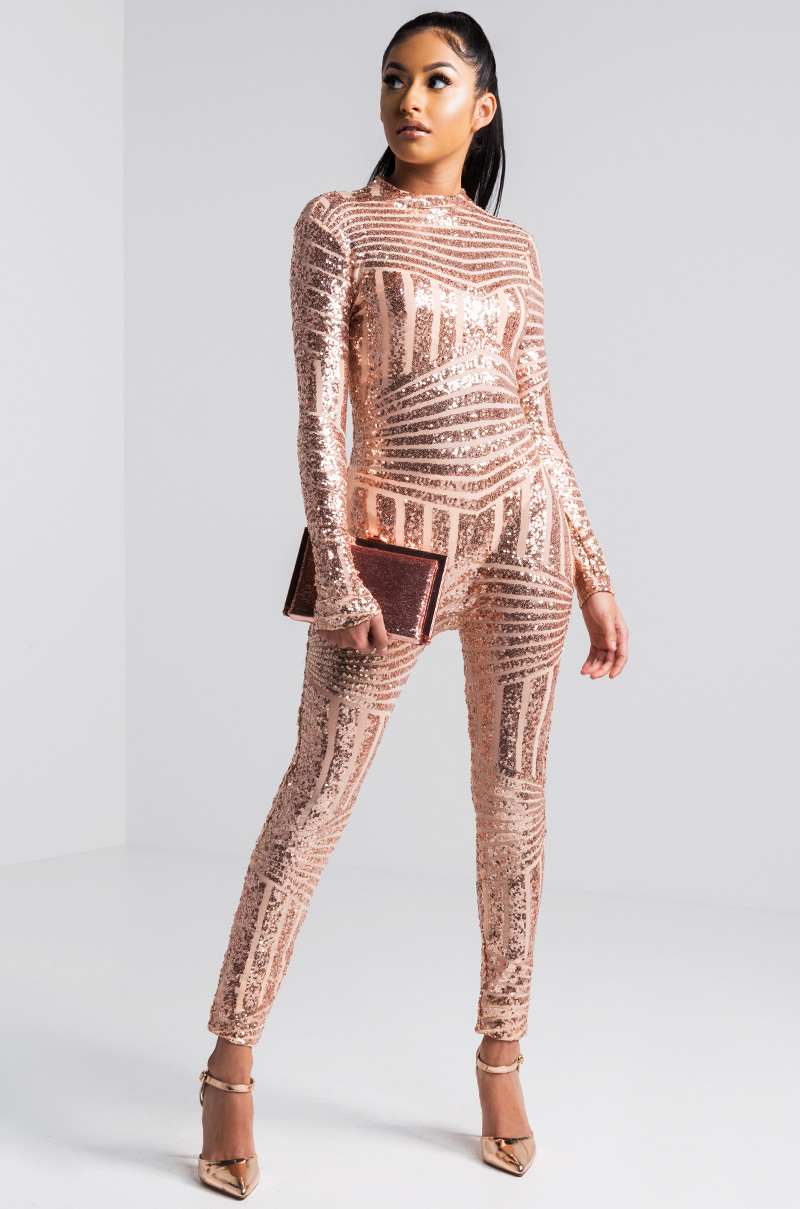 Round Neck Long Sleeve Slim Fit Sequin Glitter Striped