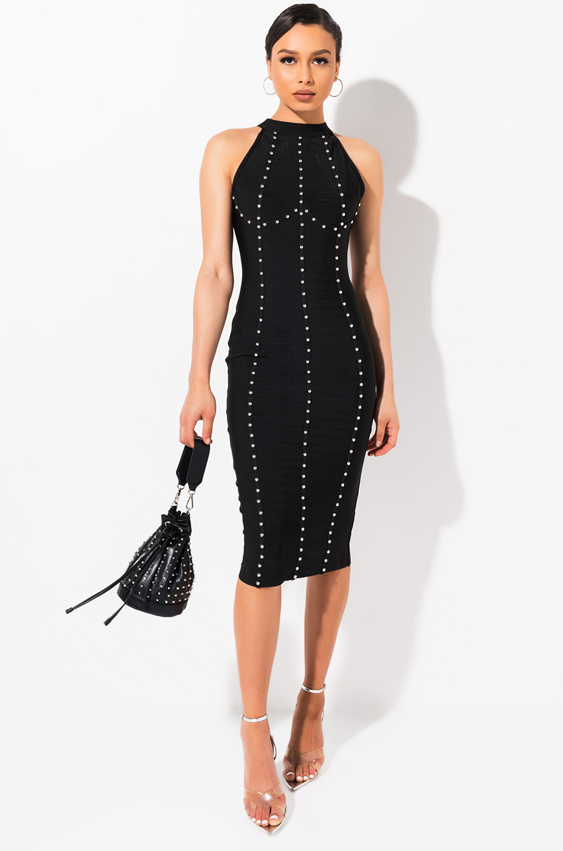 AKIRA Label Studded Halter Neck Stretch Knit Midi Dress In Black