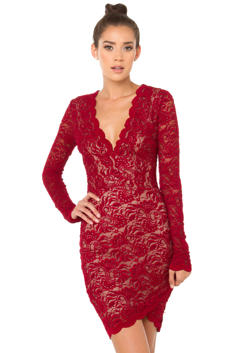 Bodycon Lace Dress | Long Sleeve Burgundy Mini | Red Lace Mini - AKIRA