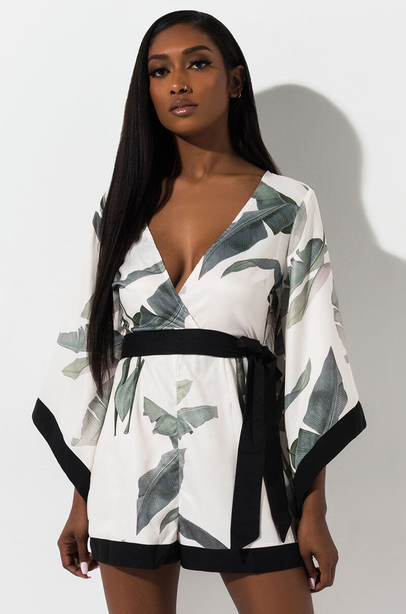 8b392749e3a AKIRA Label Floral Print Long Sleeve Kimono Style Romper in White Floral