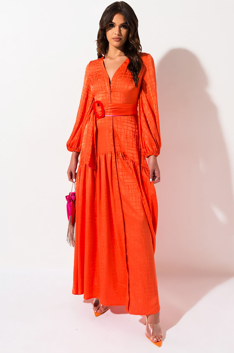 AKIRA Label Geometric Print Tiered Button Down Long Sleeve Belted Maxi Shirt Dress in Orange