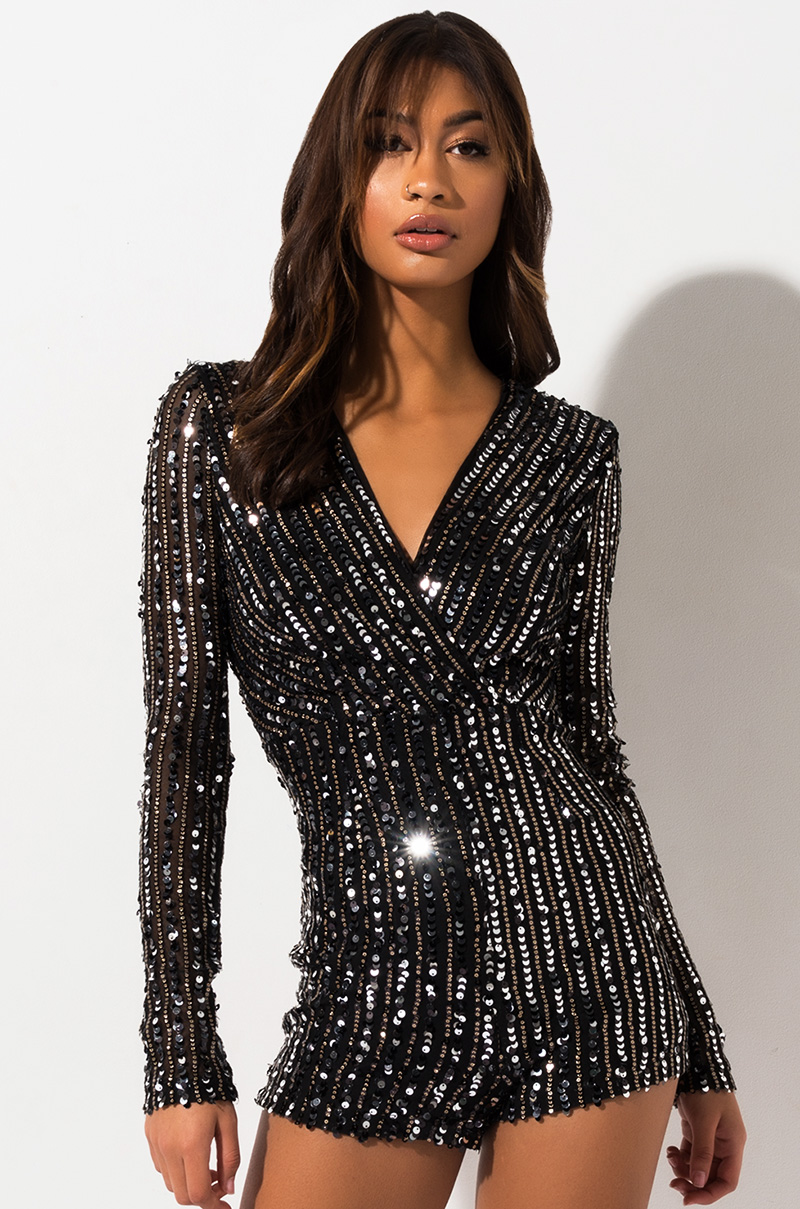 Get Away From You Sequin Romper by Akira