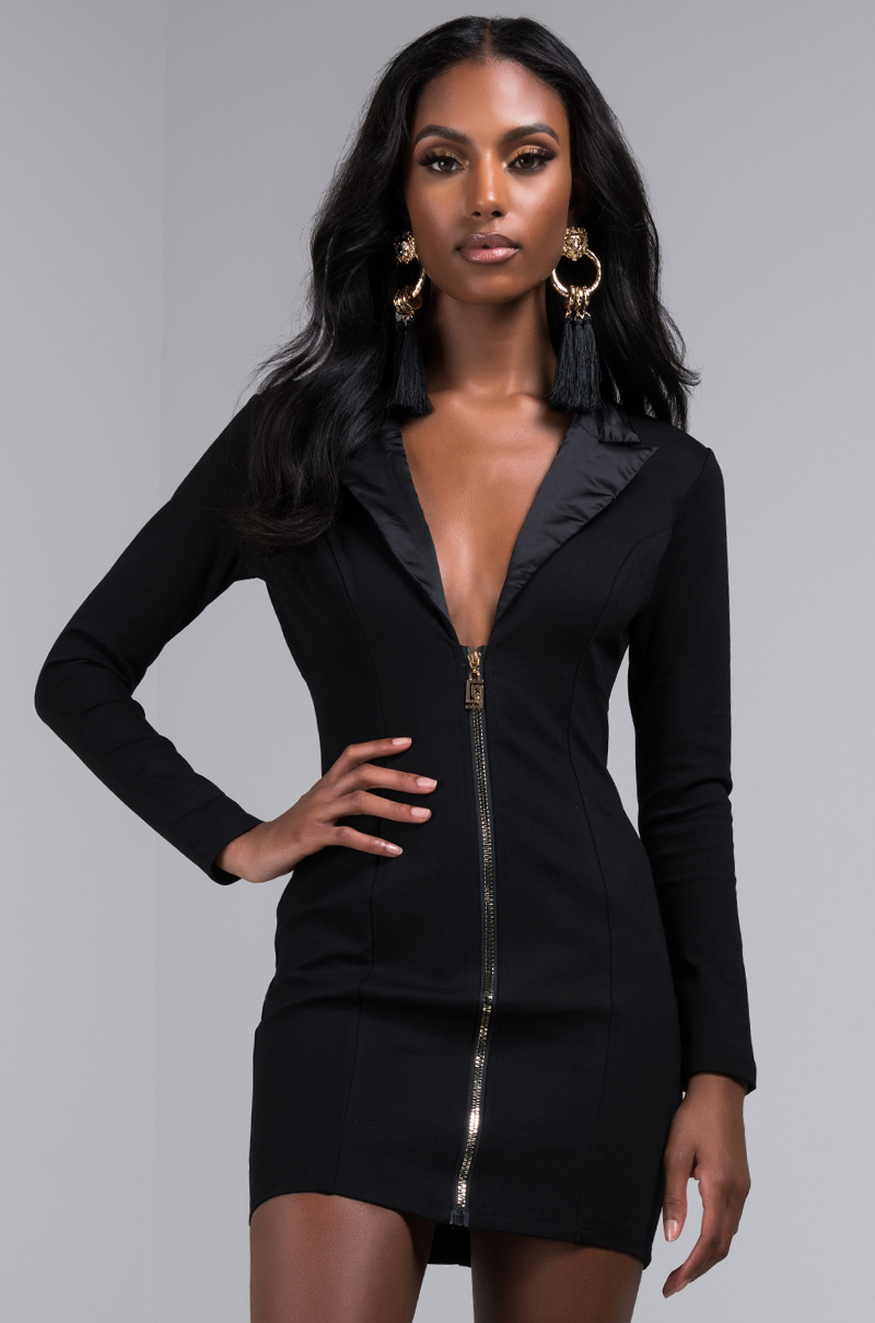 AKIRA Label Long Sleeve Sexy Bodycon Blazer Mini Dress in Black